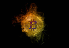 Bitcoin with colorful smoke on black background (wuestenigel) Tags: market smoke background bitcoin broken crash finance coin bear money mining burn digital btc cryptocurrency bussiness flame bullmarket fire flames burning number nummer abstract abstrakt design desktop luminescence lumineszenz symbol illustration light licht art kunst element dark dunkel shape gestalten insubstantial unwesentlich metaphor metapher fractal fraktal science wissenschaft wallpaper tapete round runden pattern muster