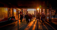 Sunset rush hour Berlin (joshdgeorge7) Tags: berlin germany german rush hour busy sunset sun orange flare yellow hat shadows cast tourist tourism holiday winter people city