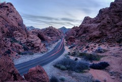Colonizing Mars (PeterThoeny) Tags: valleyoffire valleyoffirestatepark overton nevada usa statepark park landscape outdoor road curve night light sky mountain longexposure sony a6000 selp1650 1xp raw photomatix hdr qualityhdr qualityhdrphotography fav200 purple blue red