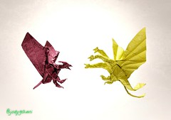 Rodan x Ghidorah (joeygami) Tags: graphic illustrations painting drawing kingofthemonsters clash king ghidorah rodan flying dragon bird wings monsterverse titans kaiju gojira godzilla photography photo design craft art paper sculpture origami