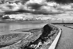 Low Tide (H&T PhotoWalks) Tags: blackwhite blackandwhite bw landscape nik silverefexpro lisboa lisbon portugal canoneos400d sigma18250 tan river tide clouds riotejo parquedasnações breakwater vanishingpoint ii