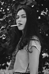 Drielly (TheJennire) Tags: photography fotografia foto photo canon camera camara colours colores cores light luz young tumblr indie teen adolescentcontent blackandwhite stripes 2018 50mm summer frenchstyle eyes naturallight longhair fashion smoking cigarette sãopaulo brasil brazil sp