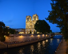 Endless blue (Valantis Antoniades) Tags: blue hour paris france notre dame cathedral church river seine