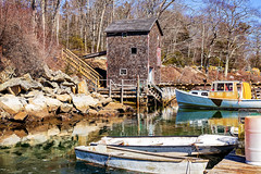 Yesterday (BadShep) Tags: water pier boathouse coastal landscape waterscape boats harbor dock maine lobster woods trees ice