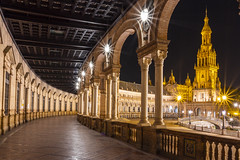 Plaza de espana , nightview (NavenV) Tags: spain seville architecture ligjht nightphoto night ng ngc nightphotography building history nikon d7500 sigma f22 starburst europe spaintravel palaces longexposure