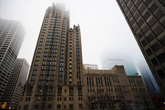 Chicago Tribune (Anthony Mark Images) Tags: chicagotribune newspaper chicago illinois usa americanflag foggy raining skyscrapers windows architecture nikon d850