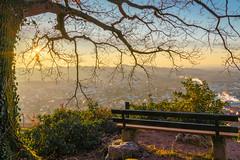 Wenn die Sonne scheint (KaAuenwasser) Tags: schwarzwald dasenstein sonne baum ast äste himmel sitzbank hdr häuser gebäude stein park berg wasser holz wald tal