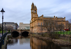 Paisley town hall (Rourkeor) Tags: 1882 35mm 35mmzeisssonnartlens architecture carlzeiss paisley paisleytownhall rx1r sony whitecartwater fullframe historic reflections tunnel water sonyflickraward