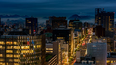 Hiroshima (Yullements) Tags: travel vacation holiday japan australian landscape cityscape night building cars mountains roads streets lights blue yellow