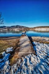 Footbridge Morning (orkomedix) Tags: canon eosr samyang 14mm germany tegernsee water reflexion footbridge snow outdoor
