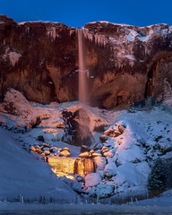 Waterfall Lights (JH Images.co.uk) Tags: iceland waterfall snow ice rocks hill cliff river rock winter night hdr dri