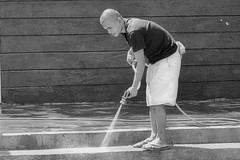Hosing (Beegee49) Tags: street man water washing steps blackandwhite monochrome bw luminar sony a6000 bacolod city philippines asia