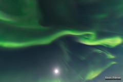 Snaking Aurora (kevin-palmer) Tags: björkliden sweden swedishlapland europe arctic march winter cold clear sky night stars starry space astronomy astrophotography aurora auroraborealis green blue moonlight moonlit substorm sigma14mmf18 moon corona