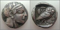 ΑΘΗΝΑ, tetradrachm / Athens (460∼450 BC) – IMG_8211+8210 (αδαμαντες) Tags: athena owl eule 460bc silver coin tetradrachm greekmythology