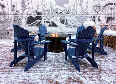 Vague de froid (Jean S..) Tags: fire snow ice blue chairs seats outdoors winter white