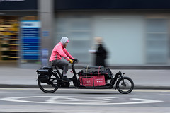 Speedy city delivery (jeremyhughes) Tags: london highholborn cargo cargobike panning motion movement speed city urban street delivery winter pink pedalpower road nikon d750 nikkor 80200mmf28 pedalme pedalmeapp