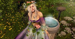 Look 756 - Elf's Mirror (KittyVonCat) Tags: fantasy arwen movie enchantment spring flowers gown medieval roleplay irrisistible shop clothes dress mesh outfit costume headpiece secret garden maitreya belleza slink hourglass fancy necklace