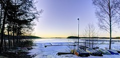 Another Cold Morning Sunrise on Mälaren Sweden (fixaraffe) Tags: boats ice hdr bluehour