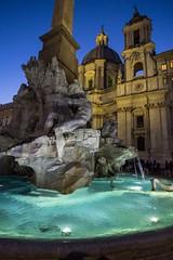 Piazza Navona (Stefano Avolio) Tags: navona piazzanavona bluehour orablu stefanoavolio savolio roma rome fontanadei4fiumi bernini borromini santagneseinagone fountainofthefourrivers