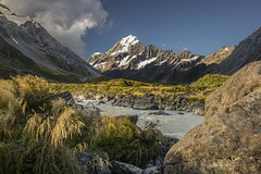 Global warming? (zebedee1971) Tags: mount mt cook new zealand hooker valley river grass southern alps canterbury rocks sky cloud ice snow melt glacier warming climate sunset sunlight light