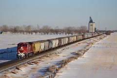 Westbound grain (ujka4) Tags: canadianpacific cp cprs ac44c6m 8123 indus alberta ab grain grainelevator