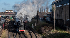 Steam and smoke (Peter Leigh50) Tags: 9f 92214 great gcr gala central winter railroad railway rail road bus steam station building factory fujifilm fuji xt2 train track telegraph pole locomotive loughborough engine br standard class 2100