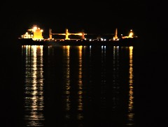 Offshore Ship - Light Reflections (Gilli8888) Tags: nikon p900 coolpix night nightshots northeast tynemouth light supermoon superwormmoon ship vessel lights reflectionsonwater reflection northtyneside