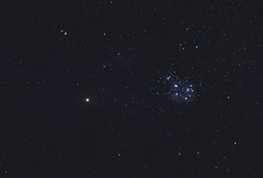 Mars visits the Pleiades Star Cluster (AstroBackyard) Tags: mars planet planetary astronomy astrophotography pleiades sky night canon 7d 24105 ioptron skytracker space stars star cluster solar system camera lens