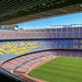 Stands with Rakuten sponsorship at Europes largest soccer stadium Camp Nou in Barcelona, Spain