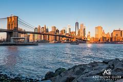 Manhattan Skyline and Brooklyn Bridge at Sunrise, New York City, USA (AnthonyGurr) Tags: newyork newyorkcity nyc thebigapple america usa unitedstates skyline brooklynbridge sunrise water cityview cityscape anthonygurr manhattan city