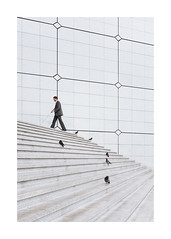 Stairs of the grande arche la défense, Paris (Samuel Zeller) Tags: fujifilm paris france city stairs impaired blind walking minimal minimalism minimalist architecture lines geometry geometric defense arche