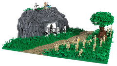 LEGO Star Wars | Clone Base on Alderaan MOC {01} (CreBrix) Tags: lego star wars moc crebrix clones clone trooper phase 2 battle attack base alderaan alderan tree leaves plants mountain rockwork