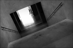right here waiting for you (bostankorkulugu) Tags: square door reflection shadow fashion light steps stairs architecture man walk guard security dark tilted tilt museum italia italy lombardia lombardy milano milan armanisilos silos armani