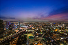 Los Angeles From 37 Floors Up (noeltykay) Tags: 1024 condo dtla downtownlosangeles fujifilm fujifilmxt3 highrise nkpix penthouse photographybynoelkleinman realestatephotography longexposure benro arcaswissd4 xt3 2019 chase wilshire 37thfloor twilight citylights