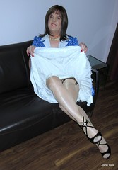 There, are you happy now (janegeetgirl2) Tags: transvestite crossdresser crossdressing tgirl tv ts trans jane gee auntie aunty aunt blue polka dot dress vintage fully fashioned stockings white nylon slips layered seams seamed black high heels stilettoes peeking slip