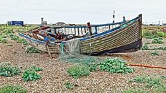 Abandoned (Croydon Clicker) Tags: boat nets tackle abandonment beach lighthouse building plants shrubs rope shingle dungeness kent
