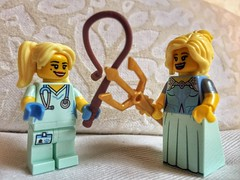 Girl fight (sander_sloots) Tags: lego minifig build bam girls blonde blondes fight nurse doctor minifiguur store dijon