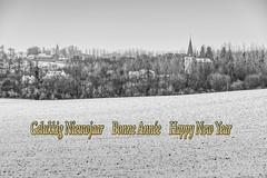 Happy New Year (enneafive) Tags: kuttekoven snow landscape wishes church monochrome