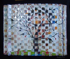 Tree Top - Top view (Peggy Dembicer) Tags: peggycorallodembicer paperweaving woven diy doityourself craft art design tree abstractart mixedmedia sculpture 3dart fiberart surfacedesign