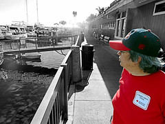 Waiting for the Boat (EmperorNorton47) Tags: danapoint california photo digital winter colorsplash coloronblackandwhite selectivecoloring red wife woman