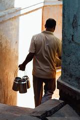 Dabbawalla in Alley, Varanasi India (AdamCohn) Tags: adam cohn ganga ganges india uttarpradesh varanasi alley dabba dabbawallah man stairs streetphotographer streetphotography tiffin wwwadamcohncom adamcohn