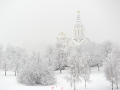 Winter in Moscow (Zaxarou) Tags: urban church city park forest winter snow white black bw blackwhite olympus omd em1 micro panasonic 35100 landscape architecture russia moscow