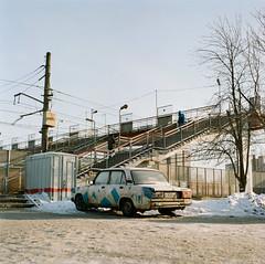 City outskirts (belousovph) Tags: portra400 mediumformat analog film portra kodak 120 zenzanon bronica light russia atmospheric sky square classic colour zenzanon80mm28