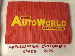 AutoWorld of Conway Customer Appreciation Cake (dms81) Tags: maninthehat yellow red logo dealership car customerappreciation cake southcarolina conway world auto autoworld