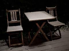 Neige (Dahrth) Tags: gf1 lumix20mm microquatretiers table neige snow jardin garden