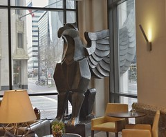 """Griffin"" by Brad Oldham (elnina999) Tags: jw marriott houston downtown hotel art bronze mythology griffin brad oldham restaurant interior sculpture wings structure indoors nikon d7100 swamplot"