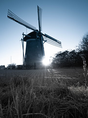 Windmill in the early cold winter morning (Michiel Pols) Tags: rise sunset water management pump windmill pumping house dutch delta design holland netherlands polder polders oud beijerland morning light sun winter panasonic lumix g80 gx80 1260 monochrome