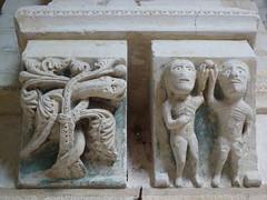 Eglise de Guarbecque (Sam Nimitz) Tags: guarbecque pasdecalais sculpture eve adam serpent snake péché sin fruit eglise church