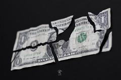 Broken dollar (Eugenio_81) Tags: stilllife eugeniosollima dollar dollars dollaro dollari 50mm ef50mmf18ii broken onedollar money soldi moneta banconota cash 1 ripped torn denaro banknote washington georgewashington usa states unitedstates brokenmoney strappato sollima usdollar america economy americandollar currency texure closeup bokeh profonditàdicampo iso100 ƒ22 black bill note one