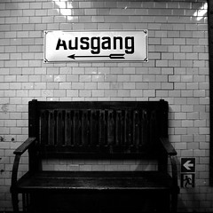 Exit (ucn) Tags: rolleiflex35b charlottenburg tessar75mmf35 berlin agfacopexrapid mutar07x u2 undergroundstation ubahnhof filmdev:recipe=12019 adoxadoluxatm49 developer:brand=adox developer:name=adoxadoluxatm49